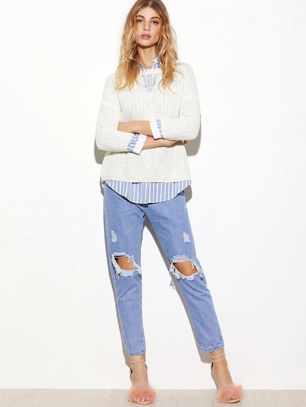 Light Blue Knee Ripped Jeans