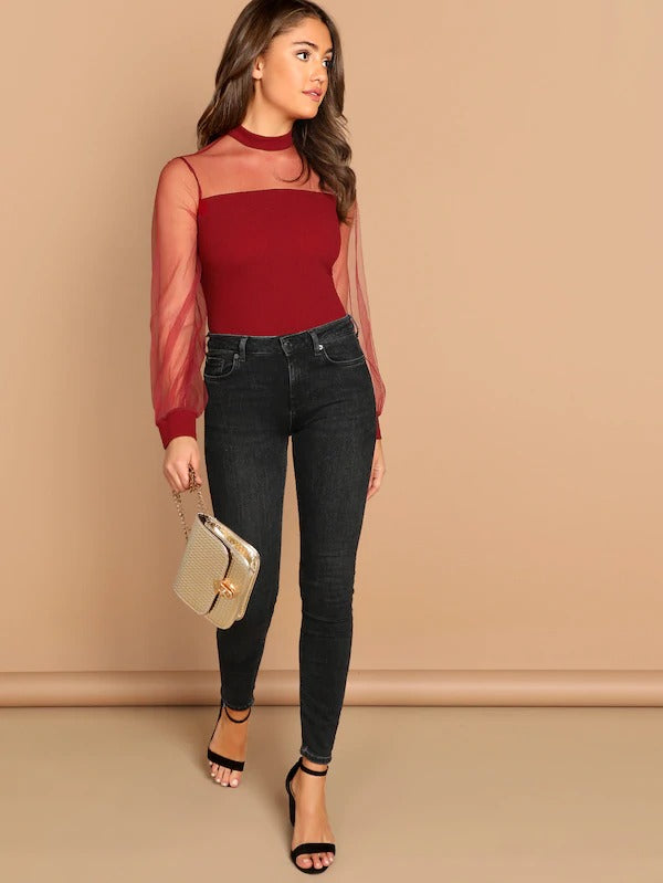 Mock Neck Sheer Mesh Yoke Blouse