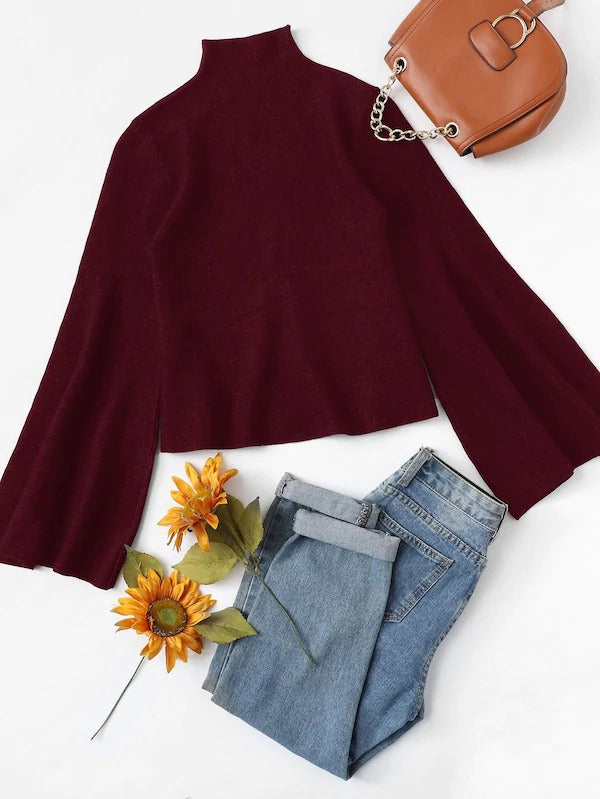 Mock Neck Bell Sleeve Sweater