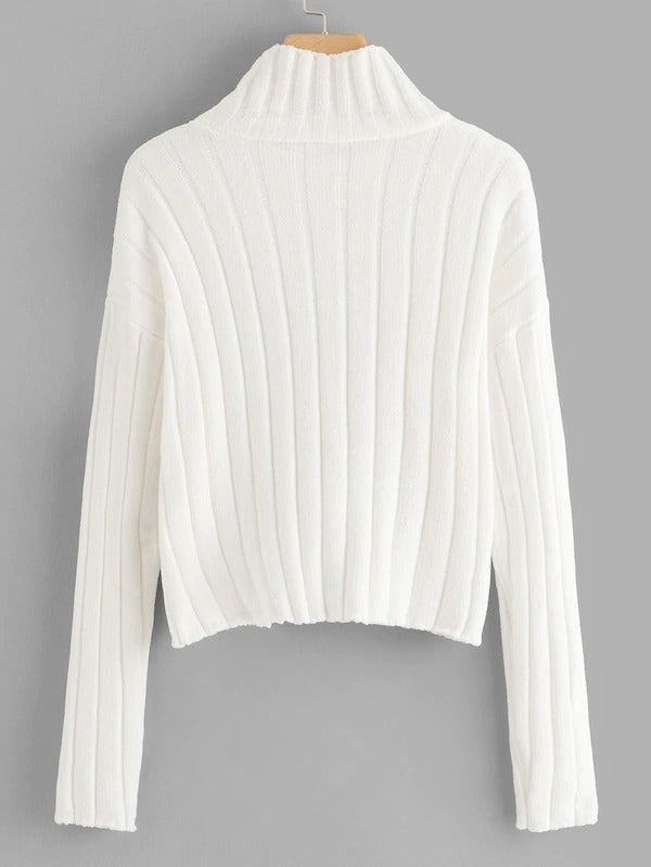 Mock Neck Form Fitting Sweater