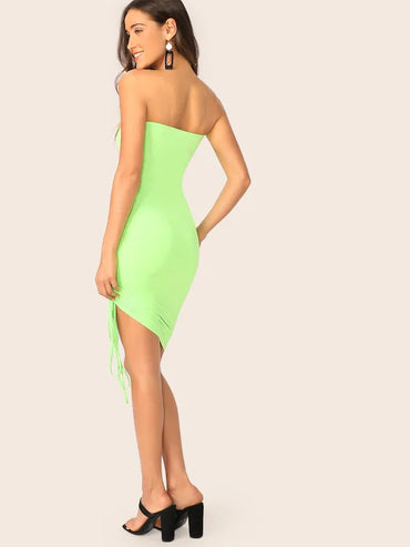 Neon Green Drawstring Side Tube Dress