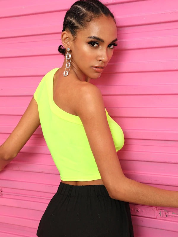 Neon Lime One Shoulder Crop Tee
