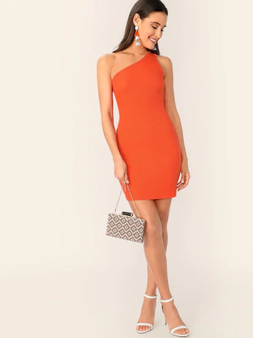 Neon Orange One Shoulder Rib-Knit Bodycon Dress