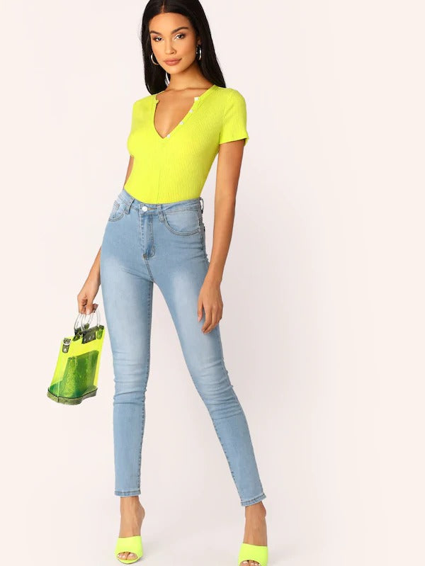 Neon Yellow V-Cut Neck Button Detail Tee