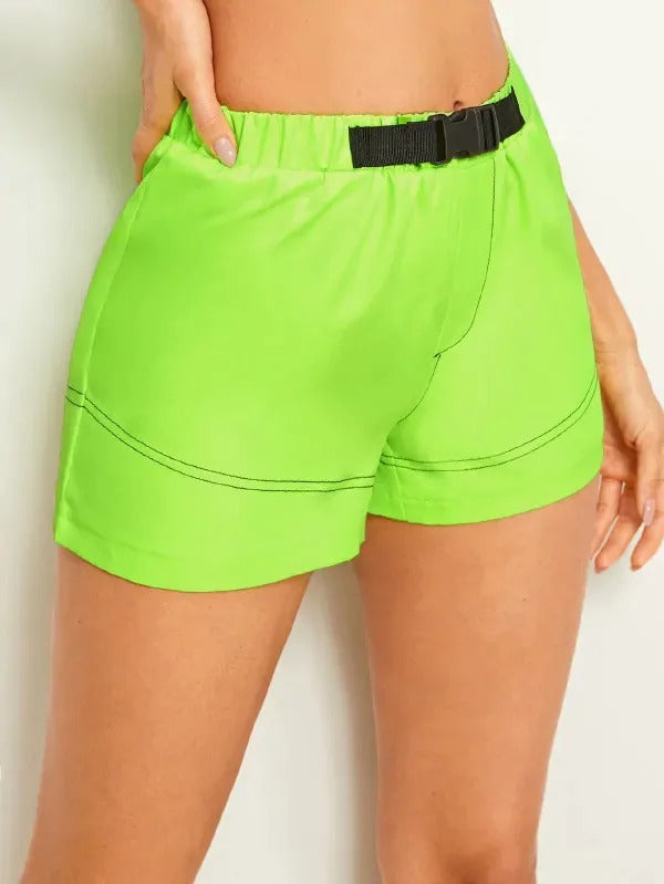 Neon Green Push Buckle Belt Shorts