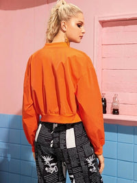 Neon Orange Rib-Knit Trim Bomber Jacket