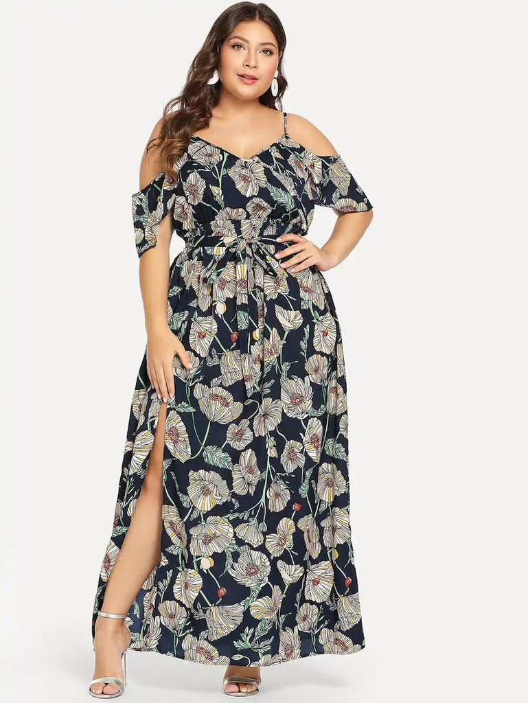 New Fashion Plus Cold Shoulder Slit Hem Floral Dress
