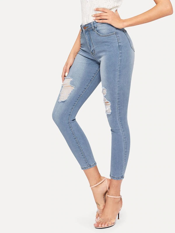 New Fashion Ripped Button Fly Skinny Jeans