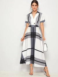 Notch Collar Buttoned Front Plaid Flared Dress