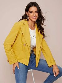 Notch Collar Double Breasted Jacket