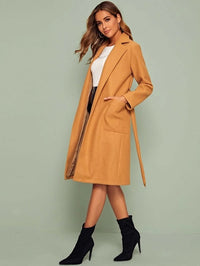 Notch Collar Pocket Front Self Belted Tailored Coat