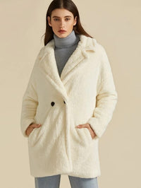 Notch Collar Pocket Side Teddy Coat