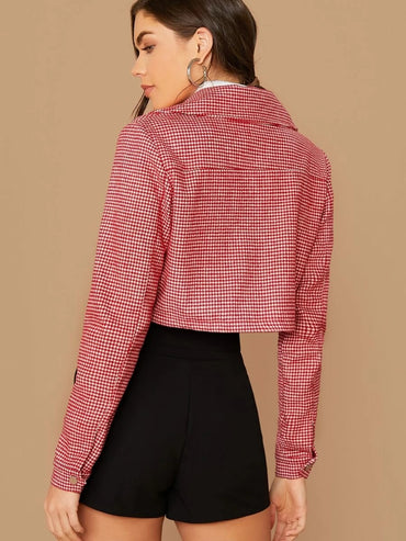 Notched Collar Flap Pocket Houndstooth Tweed Jacket