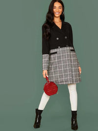 Notched Collar Plaid Pea Coat