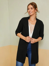 Notched Collar Roll Tab Sleeve Coat
