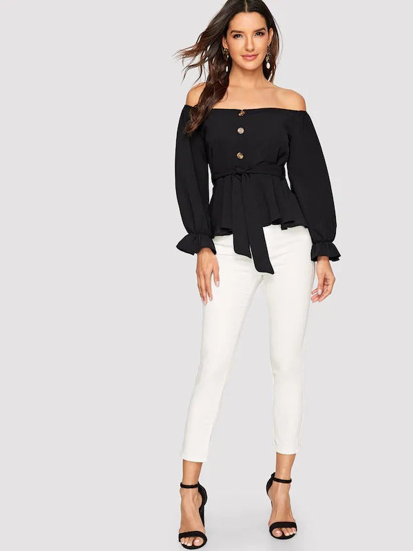 Off Shoulder Button Front Belted Top