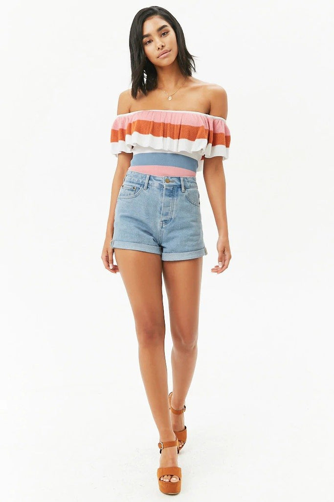 Off-the-Shoulder Ribbed Knit Top