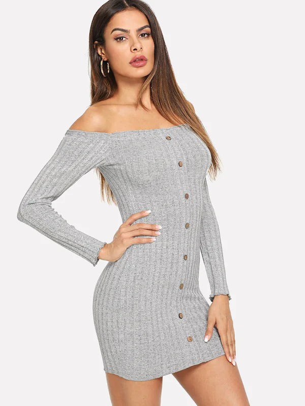 Off Shoulder Single Breasted Sweater Dress