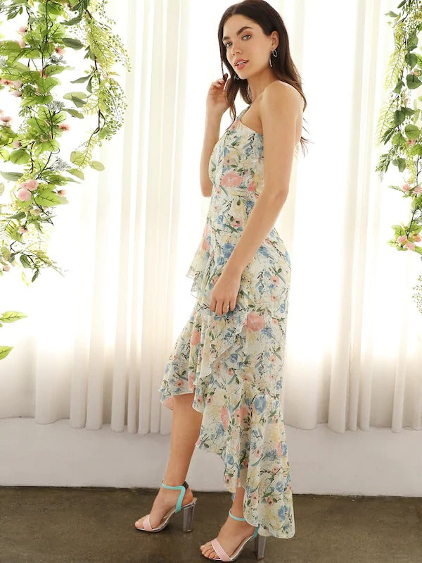 One Shoulder Ruffle Asymmetrical Dip Hem Floral Dress