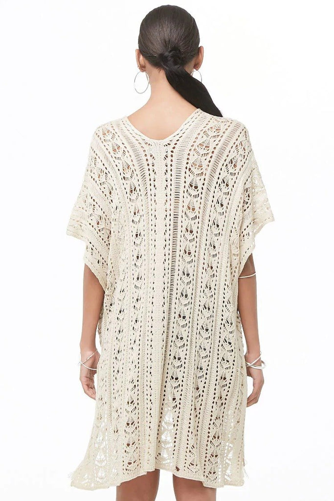 Open-Knit Lace-Up Longline Sweater