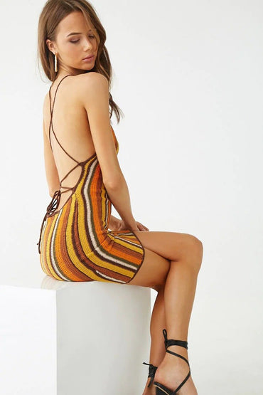 Open-Knit Striped Halter Dress