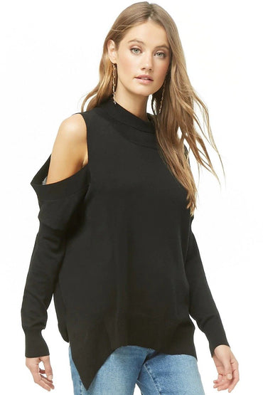 Open-Shoulder High-Low Turtleneck Sweater