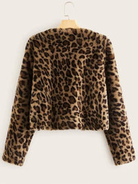 Open Front Leopard Print Faux Fur Coat