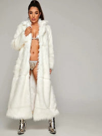 Open Front Patch Pocket Faux Fur Longline Coat