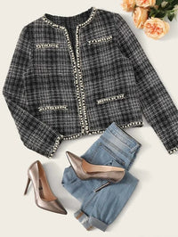 Open Front Pearls Beaded Tweed Jacket