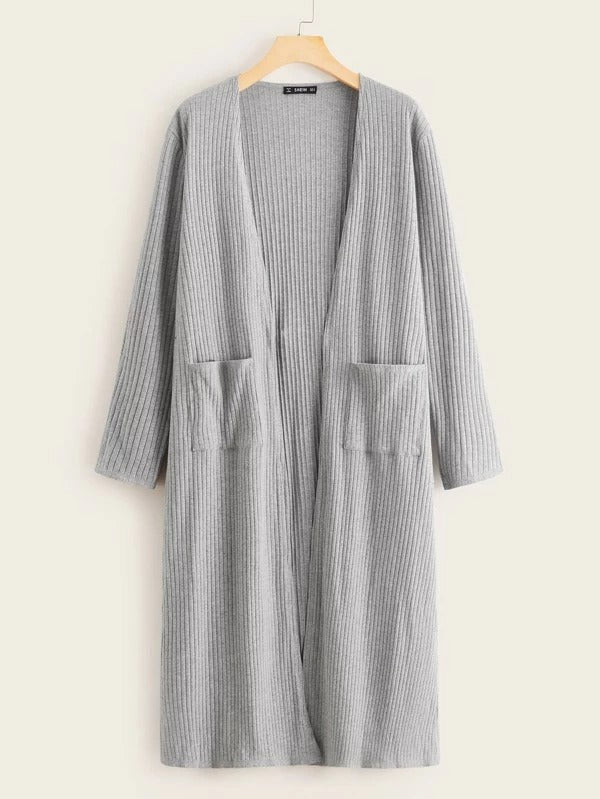Open Front Pocket Detail Rib-Knit Coat