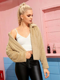 Open Front Solid Teddy Jacket