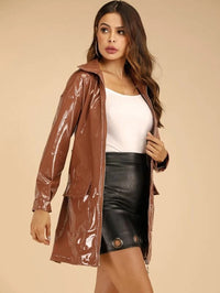 PU Flap Pocket O-Ring Zipper Belted Coat