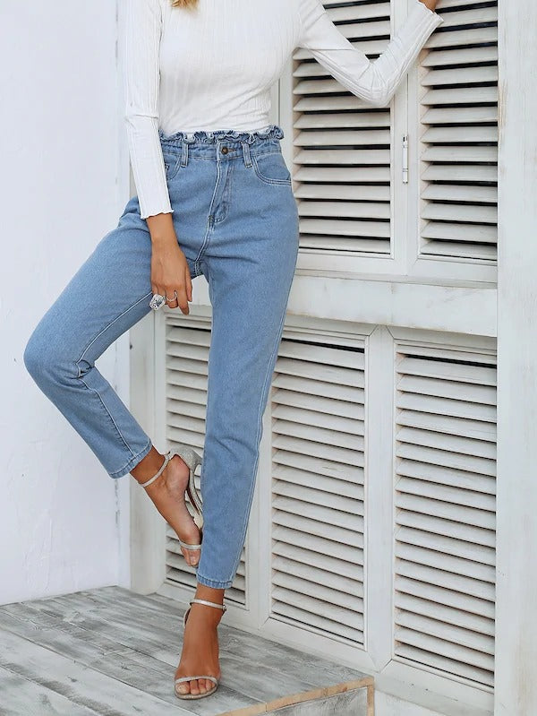 Paperbag Waist 5-Pocket Crop Jeans