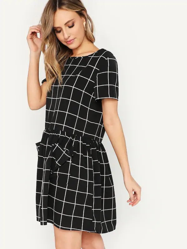 Patch Pocket Smock Grid Dress