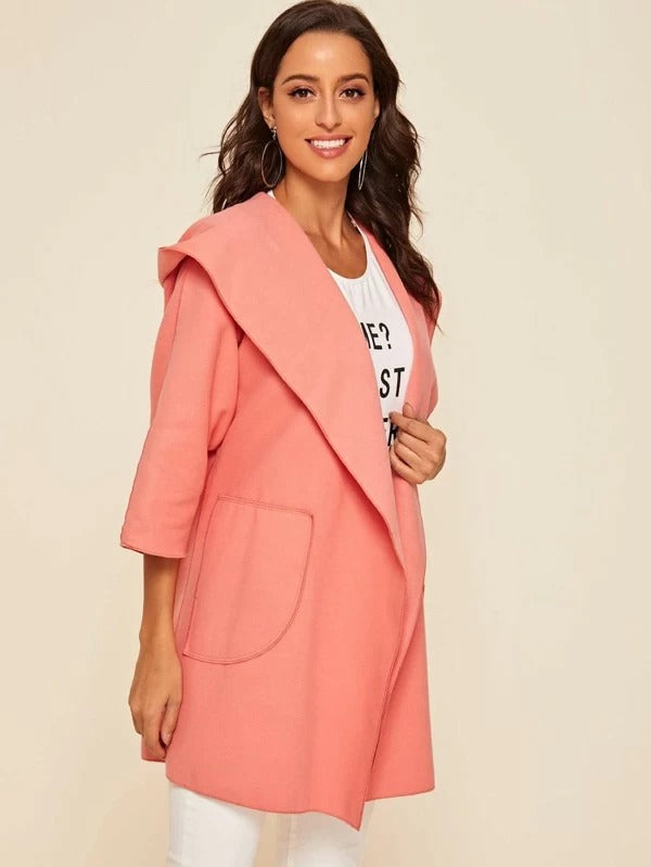 Patch Pocket Open Front Hooded Coat