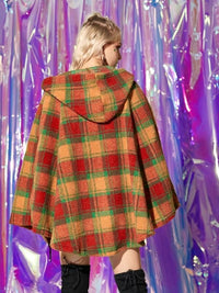 Plaid Hooded Teddy Cape Coat