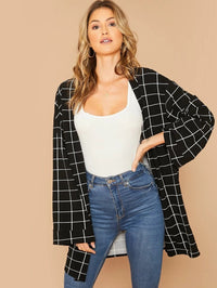 Plaid Print Open Front Drop Shoulder Coat