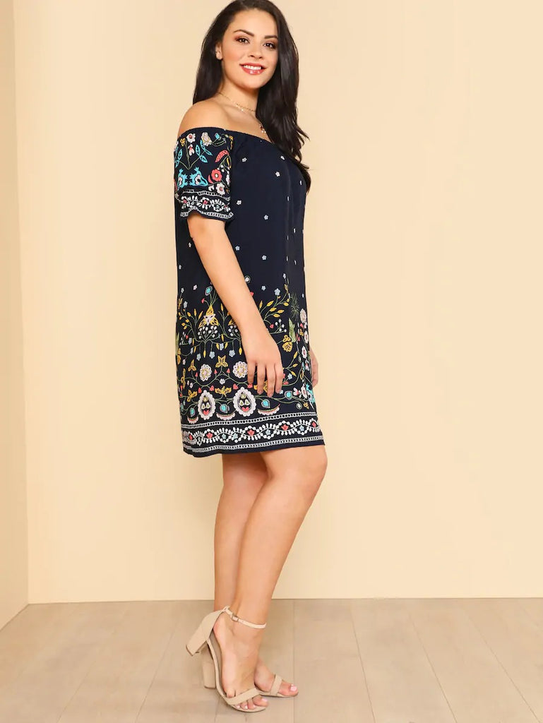 Plus Botanical Print Off Shoulder Dress
