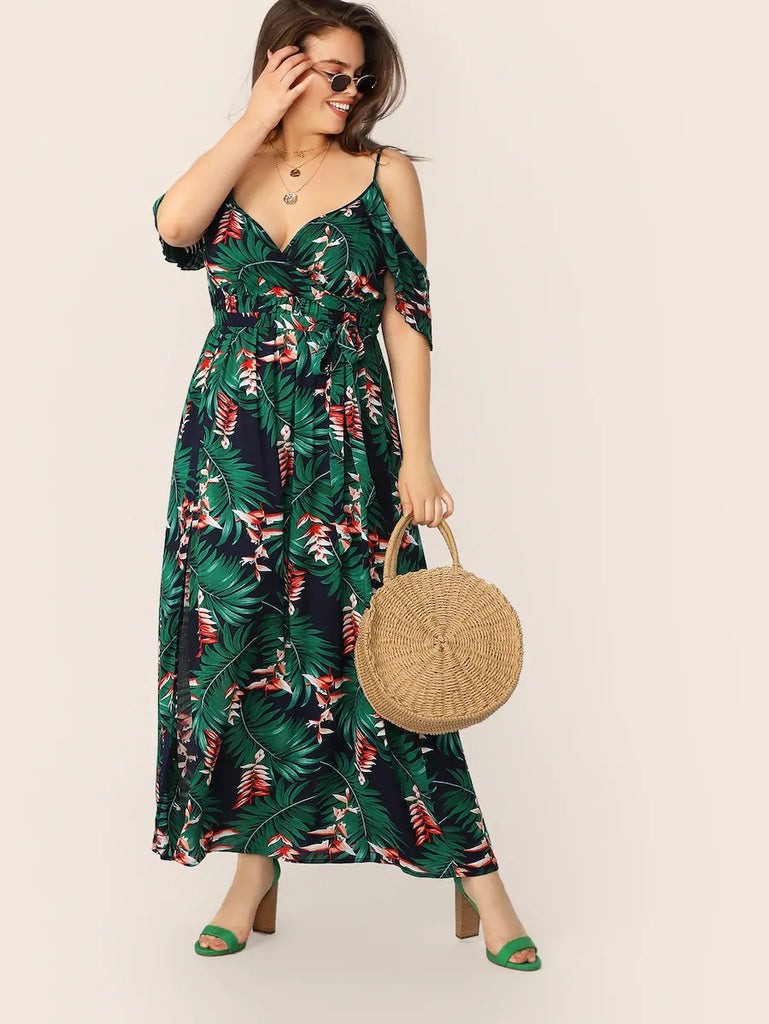 Plus Cold Shoulder Tropical Print Belted Split Dress