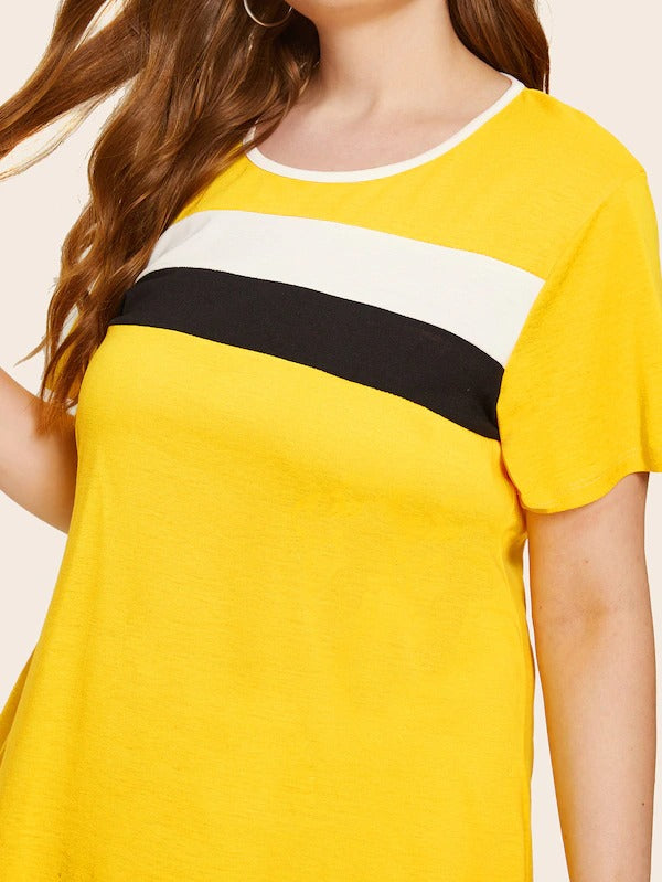 Plus Color-Block Tee Dress