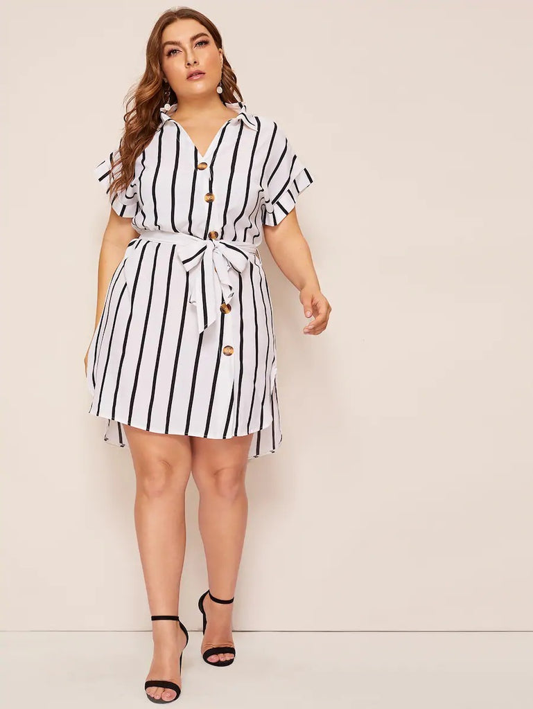 Plus Dip Hem Button Belted Shirt Dress