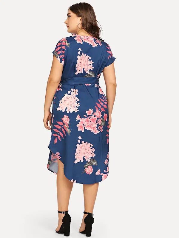 Plus Floral Print Self Tie Curved Hem Dress