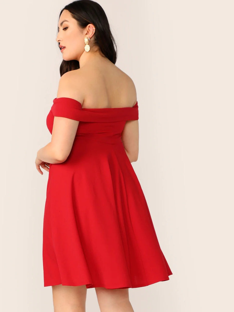 Plus Foldover Front Off Shoulder Sweetheart Dress