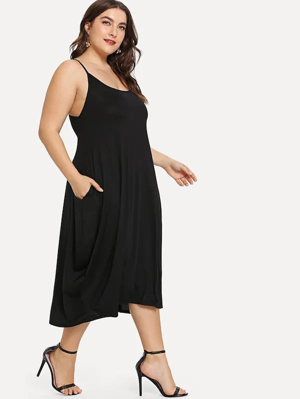 Plus Hidden Pocket Solid Cami Dress
