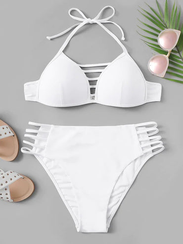Plus Ladder Cut-Out Halter Bikini Set