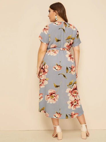 Plus Large Floral Print Belted Dress