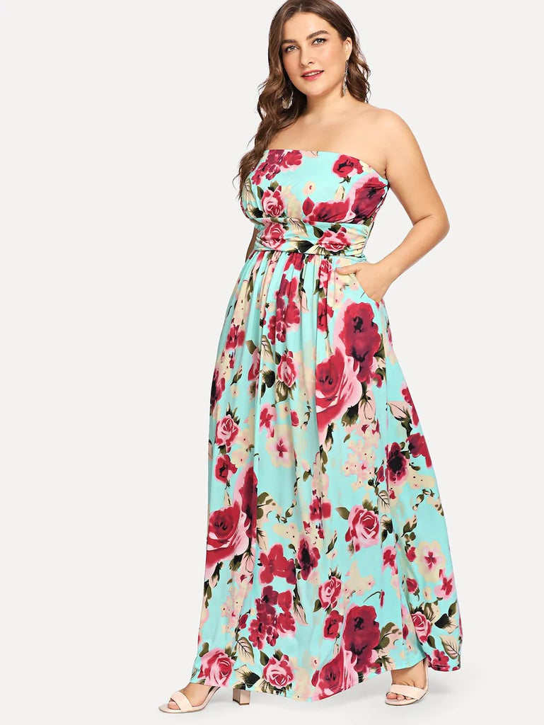 Plus Off Shoulder Floral Print Dress