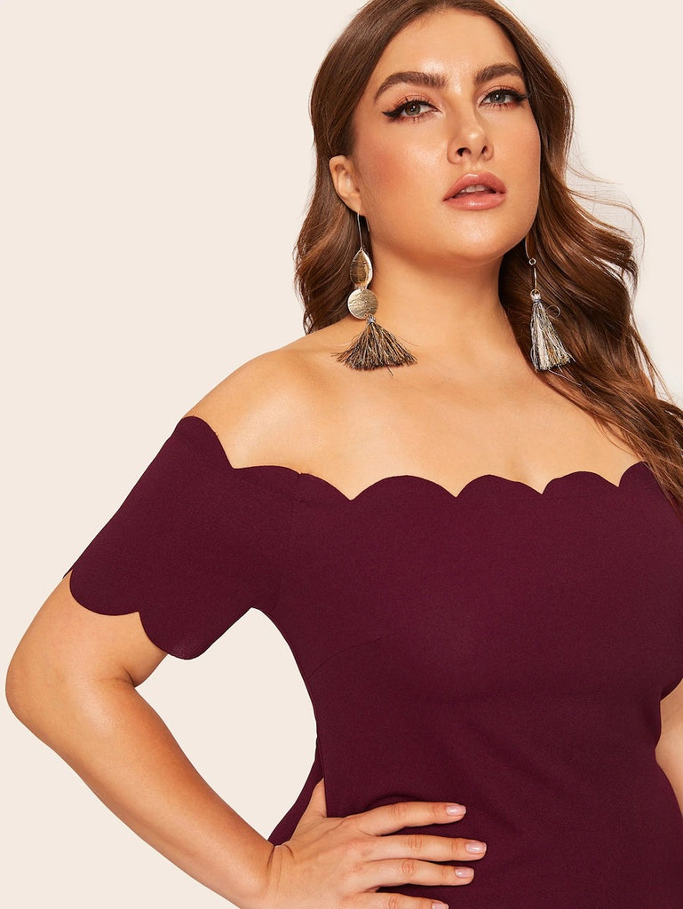 Plus Off Shoulder Scallop Trim Dress