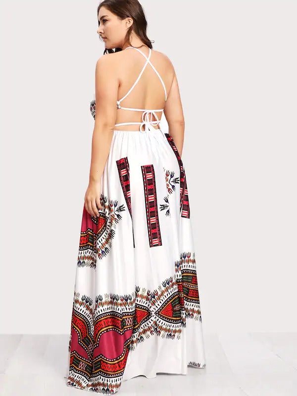 Plus Ornate Print Lace Up Backless Dress