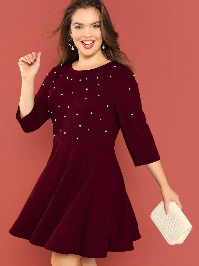 Plus Pearl Beading Fit & Flare Dress